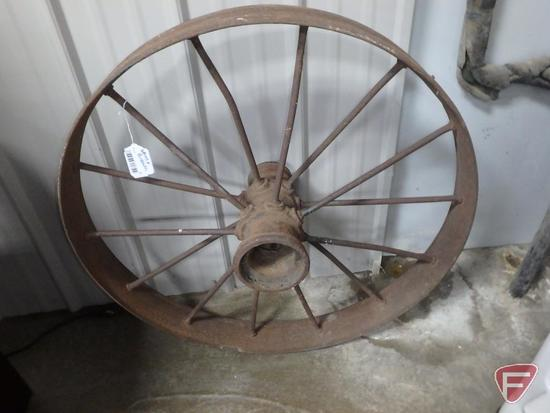 Resin/plastic bird bath and metal spoke wheel, 32inDiameter, 4inWide. 2 pieces