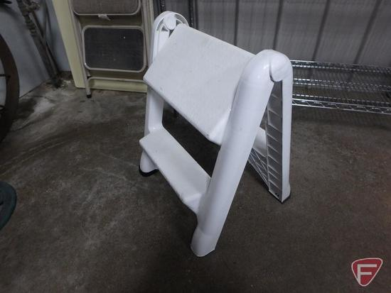 Folding 4ft plastic table, plastic step stool and metal step stool. 3 pieces