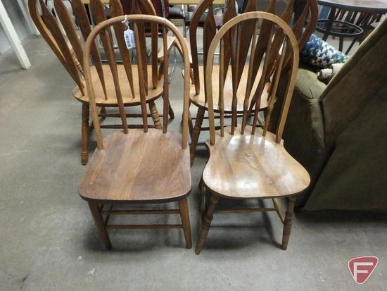 (4) wood chairs, matching sets of 2, and braided oval rug and (2) matching throw rugs. 7 pieces