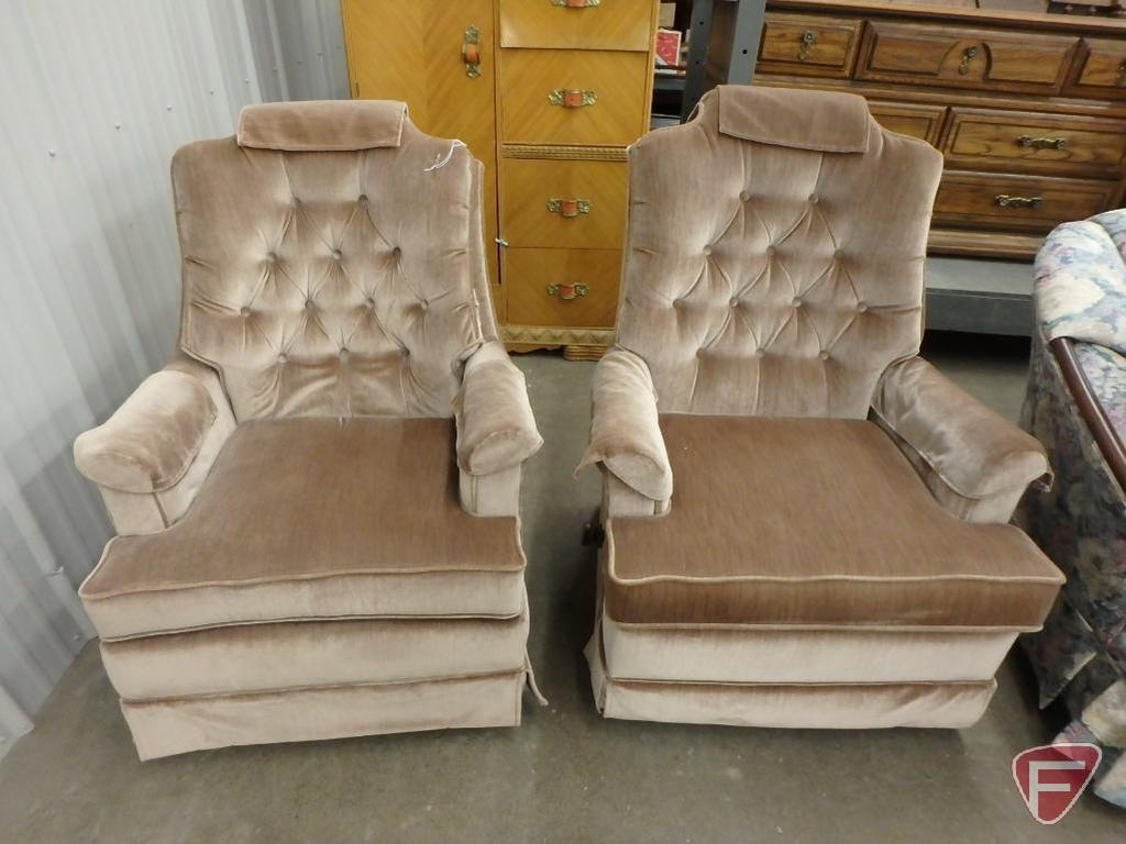 Fine Lot 2 Matching Upholstered Swivel Recliner Arm Chairs Bralicious Painted Fabric Chair Ideas Braliciousco