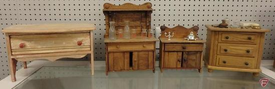 Wood doll furniture with miniature items. One drawer table is 8inHx13inW, buffet is 12inH.