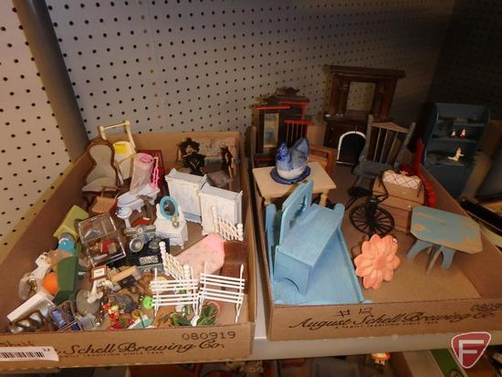 Dollhouse wood furniture and miniature items and framed cross-stitch, mirror and prints