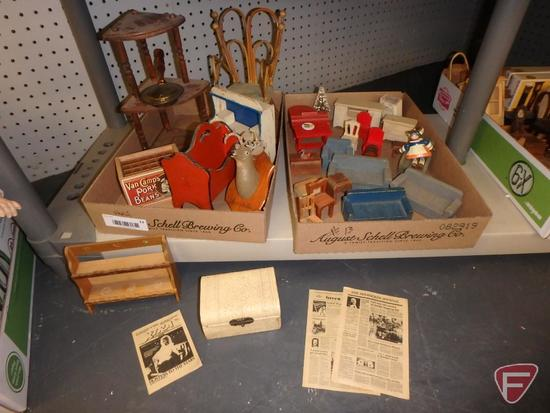 Dollhouse wood furniture and miniature items. Contents of 4 boxes/shelf.