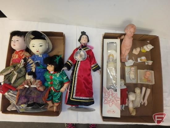 Vintage dolls, some Asian, porcelain, plastic and fabric, Silvestri porcelain doll in box,