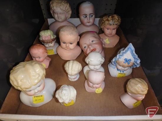 Doll parts, porcelain/ceramic heads, porcelain eyes, porcelain/ceramic limbs.