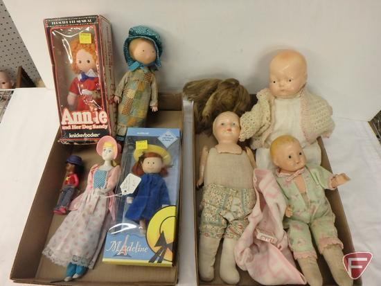 Dolls, some vintage, Madeline, Annie and her shaggy dog, and others.
