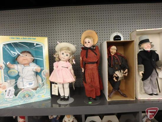 Dolls,WC Fields, Cabbage Patch Kids Splashin Kids, Spangler-Carrie, and others. Fields doll is 16inH