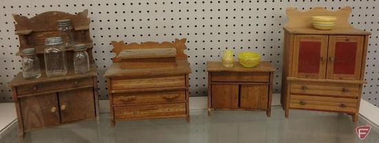 Wood doll furniture with miniature items. Tallest pieces are 12inH.