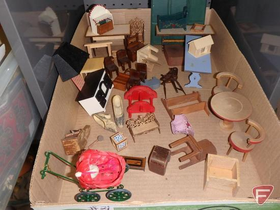 Doll/miniature items, furniture, decorations, carts, baskets.