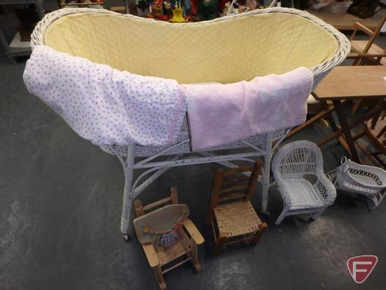 Vintage wicker bassinet, baby/doll blankets, wood/wicker doll furniture and wood swing,