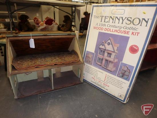 Wood doll house with flip top, 15inHx22inWx16inD and The Tennyson wood dollhouse kit.