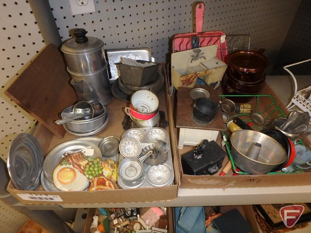 Dollhouse items, wood furniture, metal cart and buggy, stove, sink, plastic kettles,