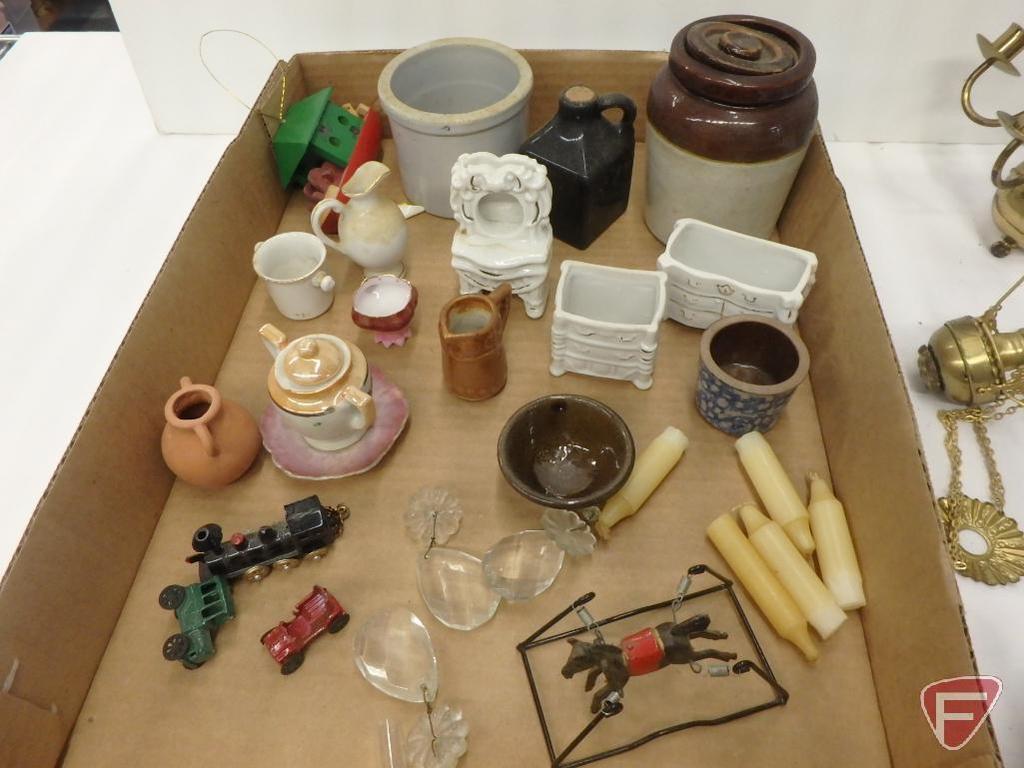 Miniature/doll items, chandelier with candles, crocks, spring horse, porcelain dressers, grinder,