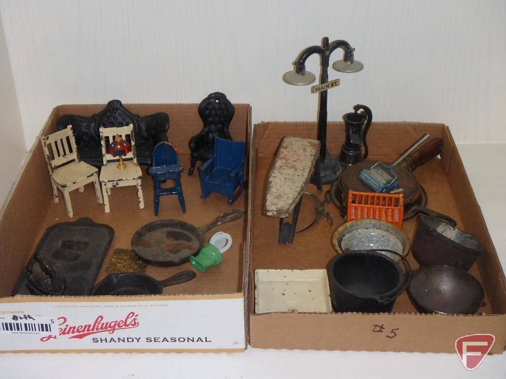 Metal and cast iron miniature/doll items, skillets, kettles, ironing board, street light, hand pump,