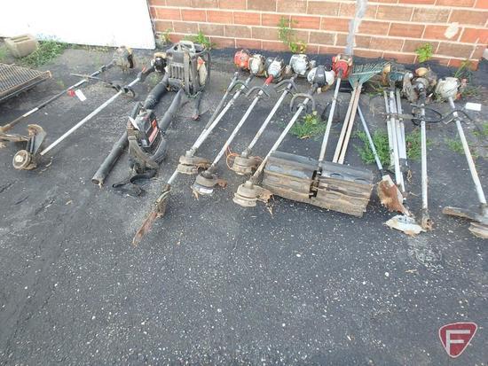 (9) gas trimmers, (1) power pruner, (1) paddle broom, (1) backpack blower, (1) handheld blower,