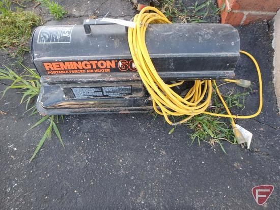 Remington 60 portable forced air construction heater, 60000btu, kerosene; and extension cord