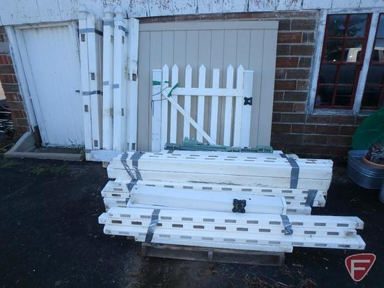 Asst. used white poly fencing and unused tan gate kit