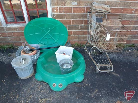 Child's turtle covered sandbox, galvanized tub and pail, milk can, shopping cart, flower pots,