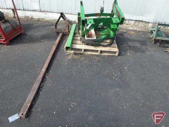 Hydraulic front lift for tractor in parts: hose, hydraulic cylinder, brackets, and