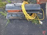 Remington 60 portable forced air construction heater, 60000btu, kerosene; and extension cord