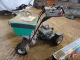 2007 Lesco Commercial Plus Hydro power standi-on broadcast spreader, item # 01009157,