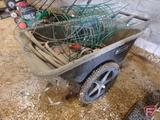 Rubbermaid 2 wheel poly garden cart, garden hose, tomato cages, fire extinguisher,