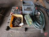 (2) 12v sprayer pumps 3.8gpm, tire chains, log chains, clevis, sump pump, and garden hose