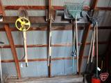 Stanley mechanical measuring wheel, bull nose shovel, (2) square nose shovel,