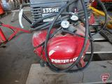 Porter Cable 6 gallon portable pancake air compressor, 2hp, and hose, runs and holds air