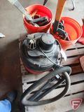 Shop Vac 8 gallon wet/dry vacuum, ax, hack saws, paint striper, calking guns