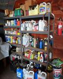 (2) shelves and contents: misc. oils, oil filters, arosal paint cans, anti-freeze, spark plugs,