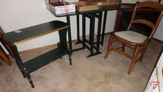 Painted green wood drop leaf table, center is 29inHx9.5inWx28inD, leaves are 17in,