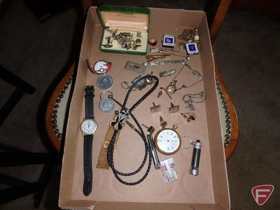Tie tacks and bars, cufflinks, bolo, wrist watch, ring, pocket knife