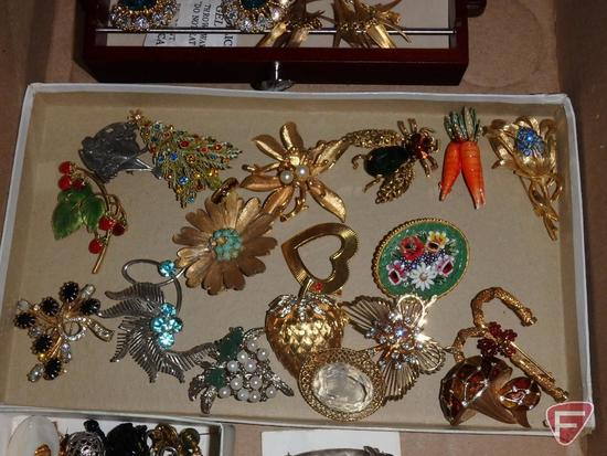 Ladies jewelry, earrings and pins, some sterling. Contents of box and jewelry box.