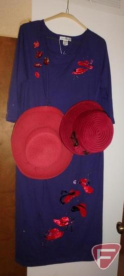 Red Hat Society dress, hats, and pins. Dress is size XL.