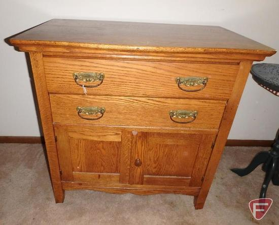 Vintage wood cabinet, 2 drawers and 2 doors, 29inHx30inWx18inD