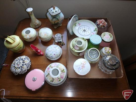 Hat pins in holder, trinket boxes, pin cushion, dresser dishes