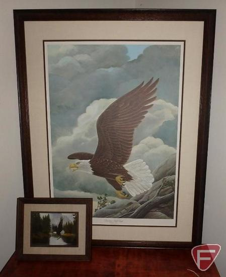 Framed/matted limited edition eagle print by John A Ruthven, signed by President Gerald Ford 7/4/76