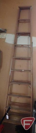 Industrial 10 ft wood step ladder
