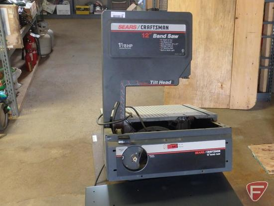 Sears/Craftsman 12in band saw with Tilt head and 1 1/8hp. With legs and shelves