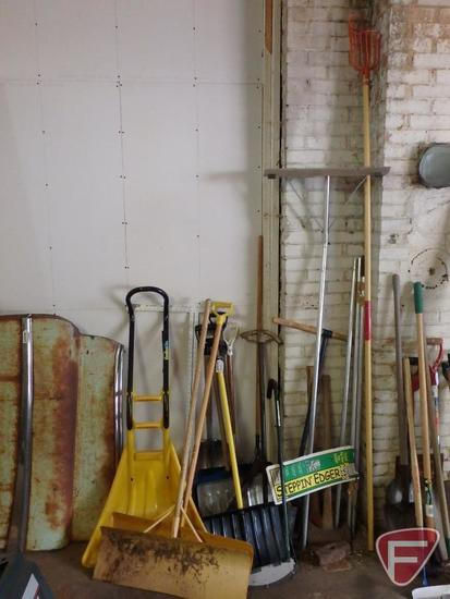 Yard and garden items, snow scraper, edger, shovels and more