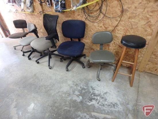 (5) office chairs and stool