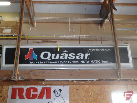 Vintage Quasar single sided lighted sign, 10'X2'