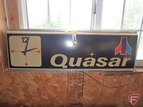 "Vintage Quasar advertising lighted clock, 3'X1', 6"" deep"