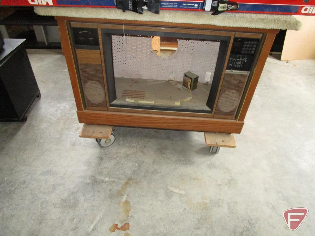 (12) Vintage wooden television case, converted to rolling shop carts with carpeted work area