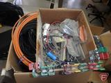 TV antenna components: F connectors, splitters, balun transformers, coax cable, wall plates,