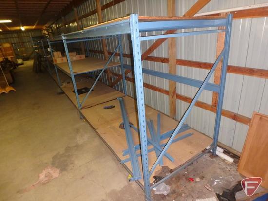 Pallet racking, (7) 6ft uprights, (3) 8ft uprights, (54) 8ft cross bars, particle board shelves