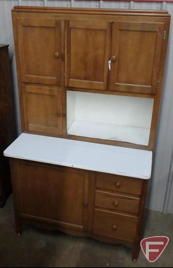 Wood homemade cupboard with enamel top, on wheels, 3 drawers, 5 doors, 70inHx40inWx25inD