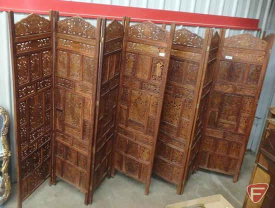 (2) wood ornate 4-section room dividers with metal inlay. Each section is 20inWx72inH. Both