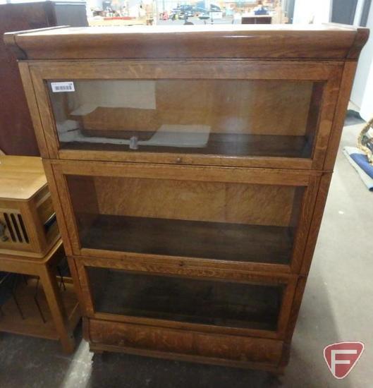 Wood/glass lawyers bookshelf with bottom drawer, 57inHx35inW13inD